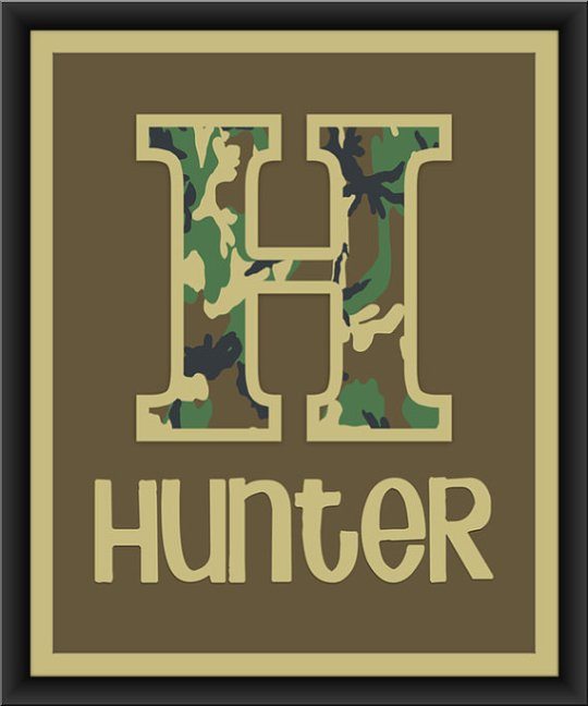 Letter and Name Nursery Art Print Hunter Camouflage